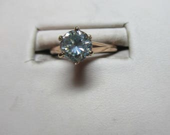 Ladies gold 1.03ct moissanite fine solitaire ring