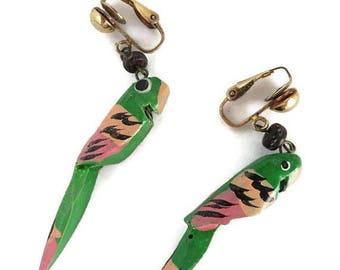 ON SALE! Green Parrot Earrings, Vintage Wood Parrot Dangling Clip on Earrings, Costume Jewelry Gift Idea