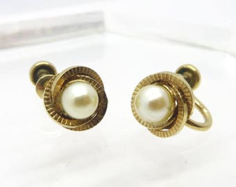 A&Z Faux Pearl Earrings, Vintage Gold Filled, Screw Back Designer Signed Earrings
