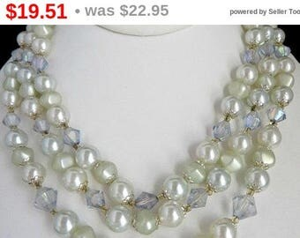 ON SALE! Japan Faux Pearl Necklace, Vintage Triple Strand Lavender, White Beaded Choker