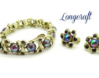 Longcraft Demi Parure, Vintage Designer Signed Rhinestone Bracelet, Earrings Set, Gift for Her, FREE SHIPPING