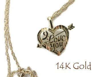 """14K Gold Heart Pendant Necklace, Vintage """"I Love You"""" Heart Pendant, 18"""" Chain Necklace"""