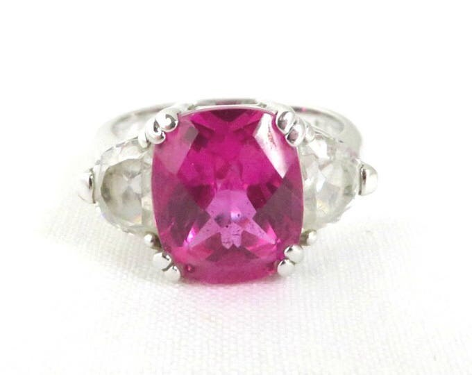 Pink Topaz Glass Ring, Vintage Sterling Silver Cocktail Ring, Size 9