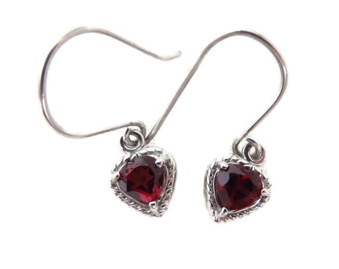 Garnet Heart Earrings, Vintage Sterling Silver Dangling Pierced Earrings, Bridal Jewelry
