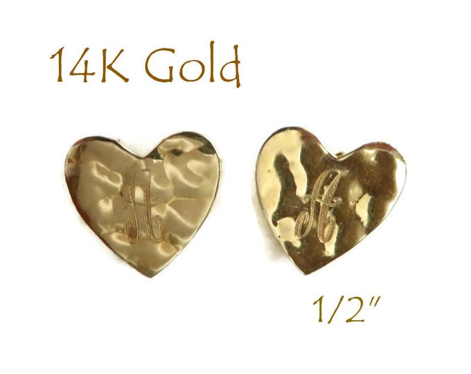 14K Gold Heart Earrings, Initial A Pierced Stud Earrings, Gift for Her, FREE SHIPPING