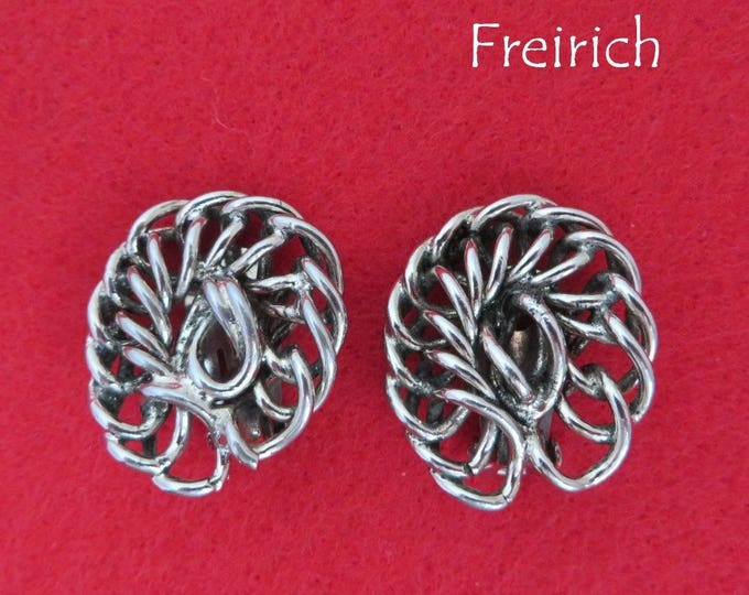 Vintage Chain Link Earrings - Freirich Silver Tone Earrings, 1960s Clip-ons, Valentine's Day Gift