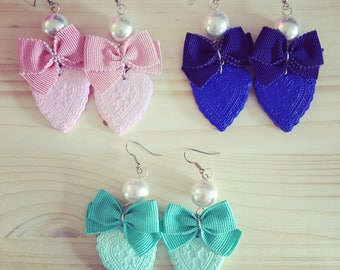 Earrings Heart with bow-Outlet prices