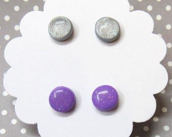 Stud Earring Set, Circle Earrings, Two Pairs Earrings, Silver Gray Studs, Everyday Earrings, Purple Earrings, Hypoallergenic, Gift for Her