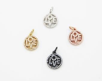 CZ Micro Pave 13mm LOVE  Charm with Jump Ring