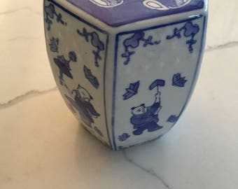 Blue and White chinoiserie small decorative garden stool