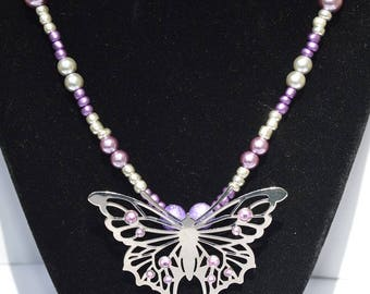 Lilac & Silver Butterfly Pendant Necklace