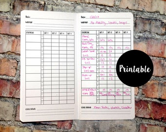 Weight Training, Log Tracker, B6, Traveler's Notebook Insert, Printable