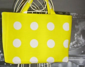Fancy bag model junior yellow Tote with white polka dots