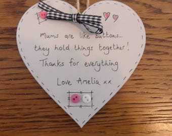 Mums are like buttons personalised heart plaque keepsake birthday christmas gift