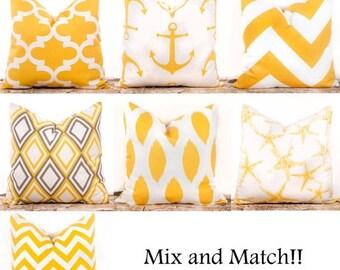 SALE ENDS SOON Yellow Throw Pillow Covers, Yellow Decorative Pillows, Lattice, Nautical, Corn Yellow, Zig Zag, Anchor Pillows