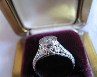 Art Deco PLATINUM Filigree and DIAMOND Ring Tad Over Size 6