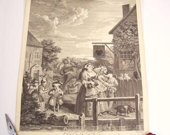 18th Century Engraving EVENING Hogarth Design  Engraved by B Baron (1696-1762) from Four Times of the Day