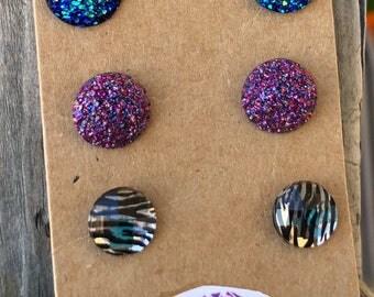 Stud earrings druzy charm earrings purple druzy druzy charms earring set zebra print nickle free earrings 12mm druzy charm