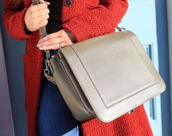 Grey Leather Bag / Grey Leather handbag /  Grey Leather Purse / Grey Messenger /  Leather Bag / Leather Handbag / Leather Messenger