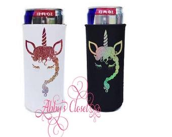 Custom Sparkly Unicorn Slim Can Cooler