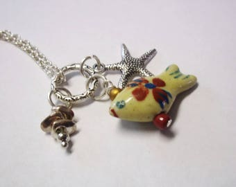 Ceramic Fish, Starfish, Pendant Necklace, Lucky Fish Yellow, Red