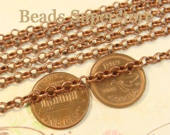 4 mm Antique Copper Rolo Chain - Nickel Free and Lead Free - 3 meters (about 10 feet)