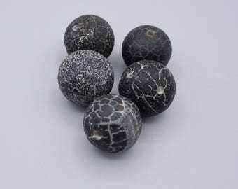 Dragon veins Agate Beads - Round Beads - black & white Agate Beads -  rustic Beads - Druzy Beads - 18mm - 5 Beads (2)