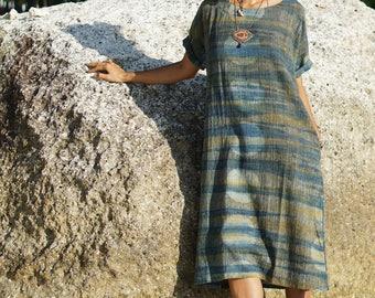 Kaftan dress, indigo shibori, indigo dye, hand dyed clothes, hippie tie dye, Shibori dress, indigo dress, oversized shirt, boho clothing eco