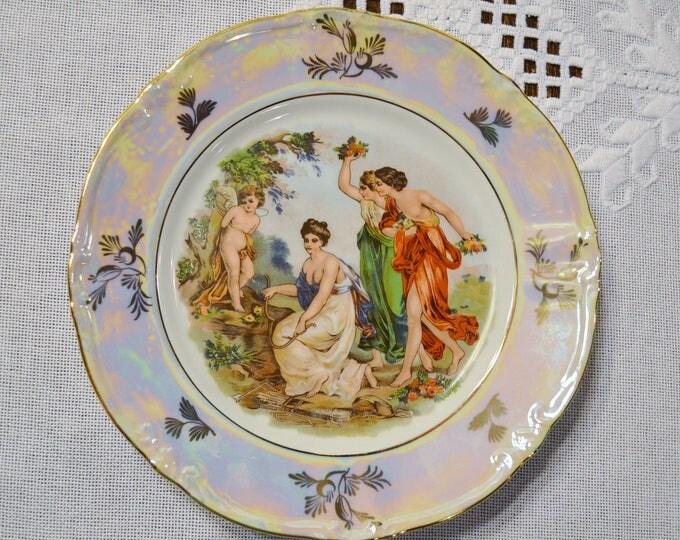 Vintage Decorative Plate  Women Scene Lusterware Iridescent Kahla GDR German Democratic Republic PanchosPorch