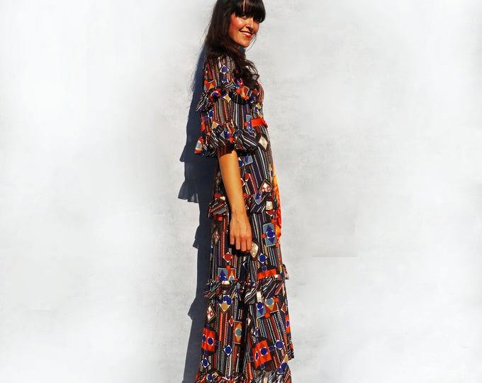 Bell Sleeve Dress, Vintage 70s Maxi Dress, Jean Allen Dress, Vintage Boho Maxi Dress, Psychedelic Dress, Wedding Guest Dress, Orange Dress