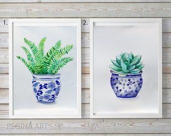 Fern Watercolor Painting, Fern Leaves, Botanical Illustration, Plant Watercolor, Fern in Blue Vase, Nature Wall Art, Original Watercolors
