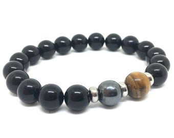 Black Onyx, Hematite & Tigers Eye Beaded Bracelet