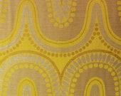 Seventies curtain fabric, original unused home decor fabric, yellow