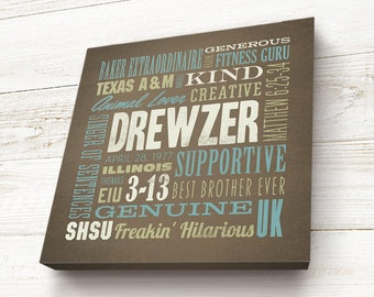Custom Canvas Word Art - Personalized Birthday Gift - Going Away Gift, Letterpress style