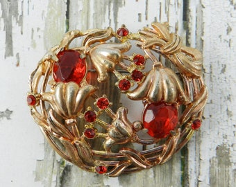 Antique Art Deco Rhinestone Brooch Ruby Red Open Back Unfoiled Rhinestones Gold Wash Over Silver Tone Pot Metal