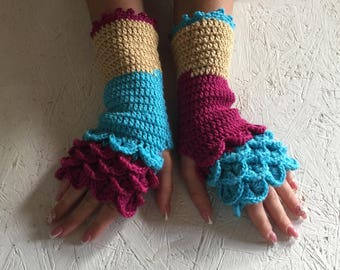 dragon scale gloves Fingerless  Gloves women fingerless gloves crochet women's gloves dragon scale women's Arm Warmers gift Accessory