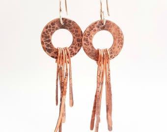 Long Textured Copper Earrings - Boho Earrings - Copper Dangly Earrings - Hoop Earrings
