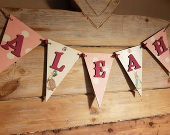 BEATRIX POTTER Inspired Wooden Personalised Bunting Flags Boys Girls Name - Christening Birthday New Born Gift Baby Name Nursery Gift
