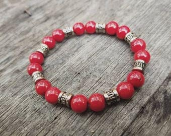 Red bamboo coral strech bracelet