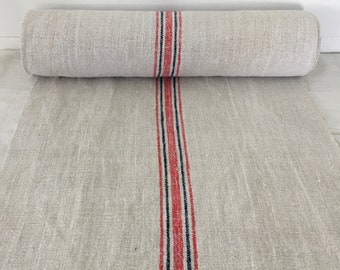 Red Stripe and Navy Blue Twill Natural Limestone Vintage Linen Fabric Striped Sewing Projects Upholstery Bath Mat or Laundry Bag