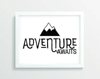 Adventure Awaits Playroom Wall Art, Nursery Wall Art, Nursery Decor, Kids Wall Art, Printable Wall Art, Playroom Print, Digital Art