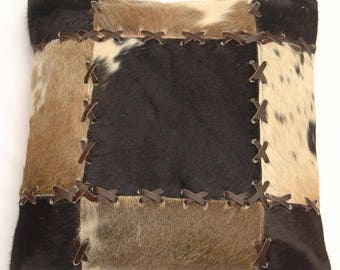Natural Cowhide Luxurious Patchwork Hairon Cushion/pillow Cover (15''x 15'')a194