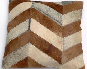 Natural Cowhide Luxurious Patchwork Hairon Cushion/pillow Cover (15''x 15'')a235