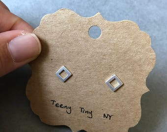 Silver Brushed Matte Tiny Mini  Square Stud Earrings Type 2- Sterling Silver [SME1035]