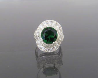 Vintage Sterling Silver Emerald & White Topaz Dome Ring Size 6.25