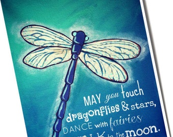 Dragonfly 8x10 print of original art by Cortney Rector Designs