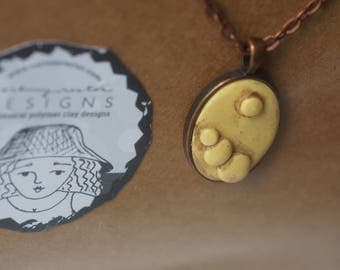 Copper Earring and necklace set in pale yellow polymer clay original art by Cortney Rector Designs