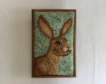Brown Hare Rug Hooking Trivet