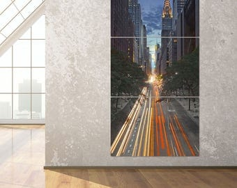 New York City 42nd Street Canyon Triptych Metal Wall Art