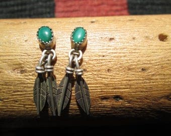 Malachite and Sterling Feathers Post Dangle Earrings